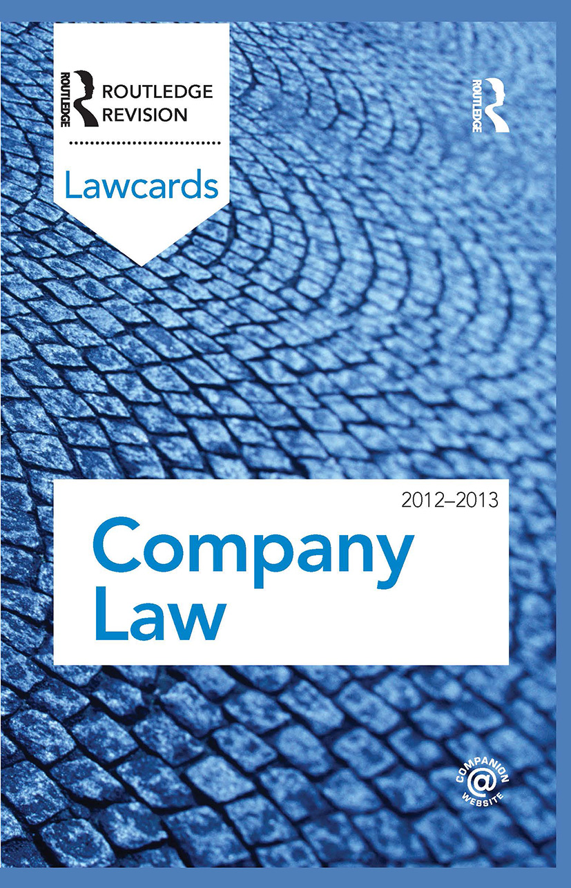 Company Lawcards 2012-2013: 8th Edition (Hardback) book cover