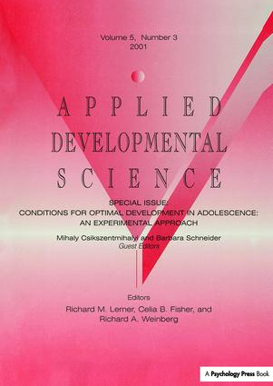 Conditions for Optimal Development in Adolescence: An Experiential Approach: A Special Issue of Applied Developmental Science (Paperback) book cover