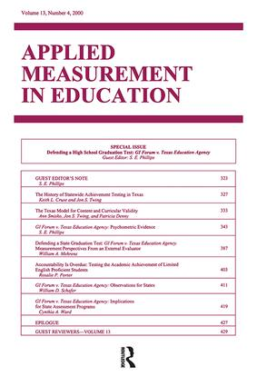 Defending A High School Graduation Test: Gi Forum V. Texas Education Agency. A Special Issue of applied Measurement in Education, 1st Edition (Paperback) book cover
