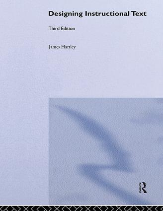 Designing Instructional Text: 1st Edition (Hardback) book cover