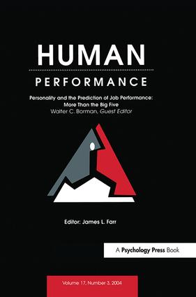 Personality and the Prediction of Job Performance: More Than the Big Five: A Special Issue of Human Performance, 1st Edition (Paperback) book cover