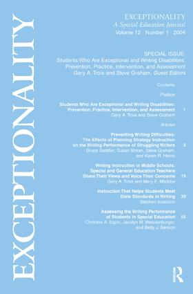 Students Who Are Exceptional and Writing Disabilities: Prevention, Practice, Intervention, and Assessment:a Special Issue of exceptionality, 1st Edition (Paperback) book cover