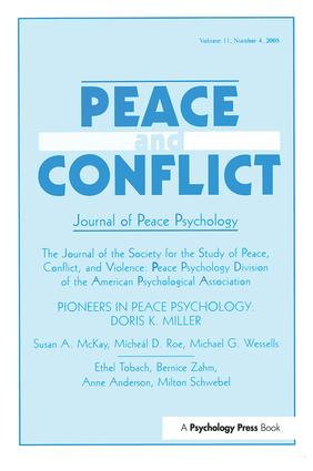 Pioneers in Peace Psychology: Doris K. Miller: A Special Issue of Peace and Conflict: Journal of Peace Psychology, 1st Edition (Hardback) book cover