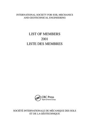 List of Members 2001: ISSMGE: International Society for Soil Mechanics and Geotechnical Engineering, 1st Edition (Paperback) book cover