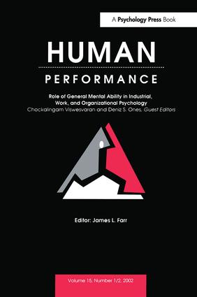 Role of General Mental Ability in industrial, Work, and Organizational Psychology: A Special Double Issue of human Performance, 1st Edition (Hardback) book cover