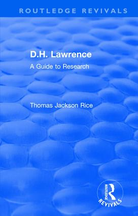D.H. Lawrence: A Guide to Research, 1st Edition (Hardback) book cover