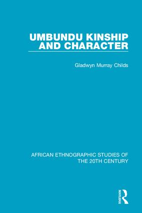 Umbundu Kinship and Character: 1st Edition (Hardback) book cover