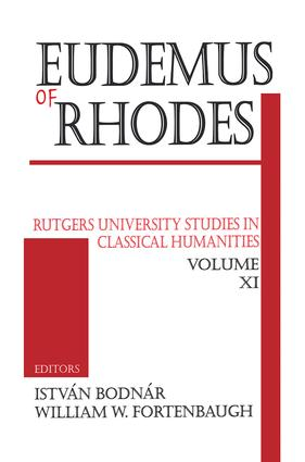 Eudemus of Rhodes: 1st Edition (Paperback) book cover