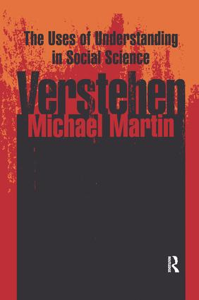 Verstehen: The Uses of Understanding in the Social Sciences, 1st Edition (Paperback) book cover