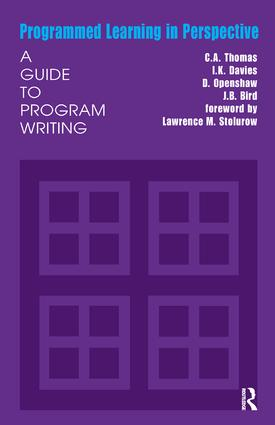 Programmed Learning in Perspective: A Guide to Program Writing, 1st Edition (Hardback) book cover