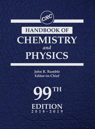 CRC Handbook of Chemistry and Physics, 99th Edition: 99th Edition (Hardback) book cover