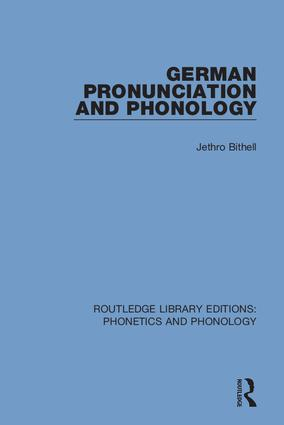 German Pronunciation and Phonology book cover