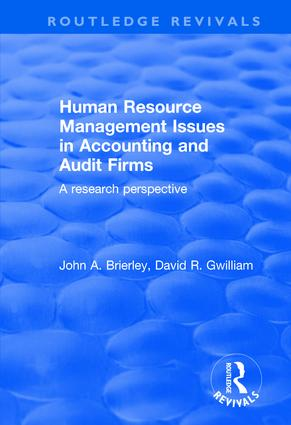Human Resource Management Issues in Accounting and Auditing Firms: A Research Perspective, 1st Edition (Paperback) book cover