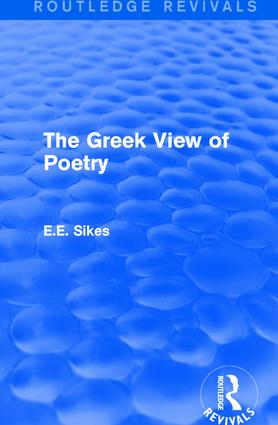 The Greek View of Poetry: 1st Edition (Paperback) book cover