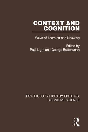 Context and Cognition: Ways of Learning and Knowing, 1st Edition (Paperback) book cover
