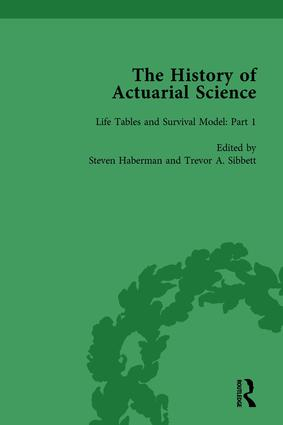 The History of Actuarial Science Vol I: 1st Edition (Hardback) book cover