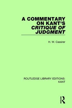 A Commentary on Kant's Critique of Judgement book cover