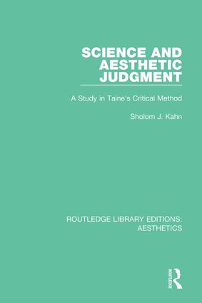 Science and Aesthetic Judgement: A Study in Taine's Critical Method book cover