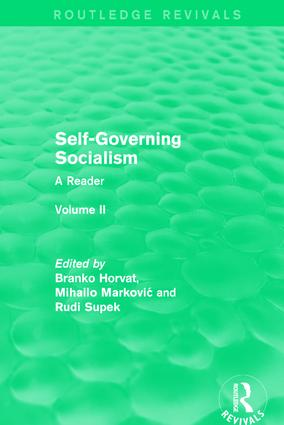 Self-Governing Socialism: A Reader: Volume II book cover