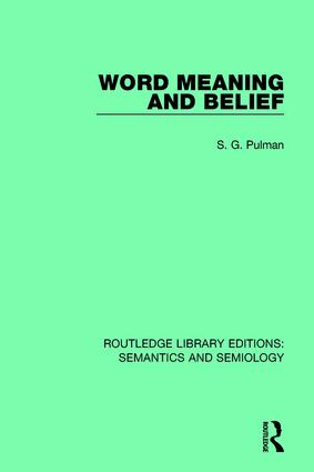 Word Meaning and Belief: 1st Edition (Paperback) book cover