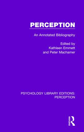 Perception: An Annotated Bibliography, 1st Edition (Paperback) book cover