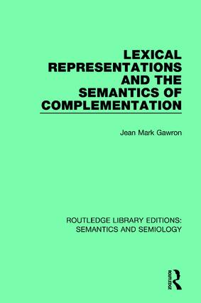 Lexical Representations and the Semantics of Complementation book cover