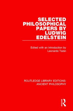 Selected Philosophical Papers by Ludwig Edelstein: 1st Edition (Paperback) book cover