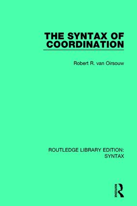 The Syntax of Coordination: 1st Edition (Paperback) book cover