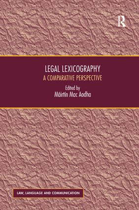 Legal Lexicography: A Comparative Perspective book cover