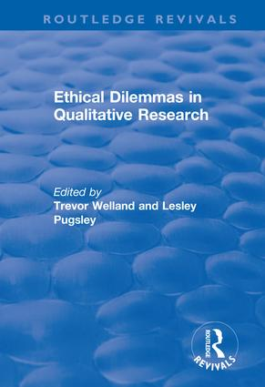 Ethical Dilemmas in Qualitative Research: 1st Edition (Hardback) book cover