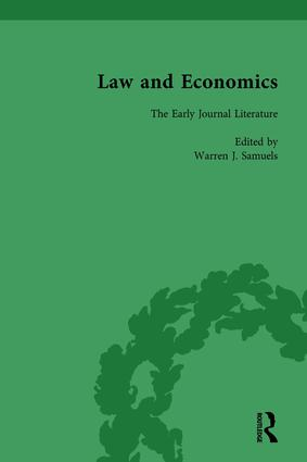 Law and Economics Vol 1: The Early Journal Literature, 1st Edition (Hardback) book cover