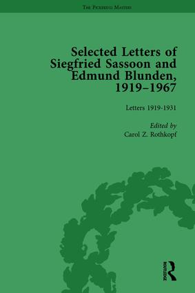 Selected Letters of Siegfried Sassoon and Edmund Blunden, 1919–1967 Vol 1: 1st Edition (Hardback) book cover