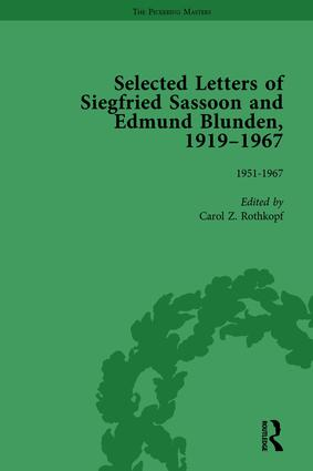 Selected Letters of Siegfried Sassoon and Edmund Blunden, 1919–1967 Vol 3: 1st Edition (Hardback) book cover