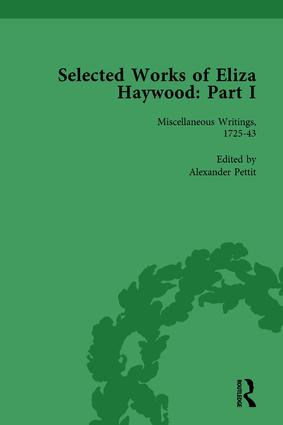 Selected Works of Eliza Haywood, Part I Vol 1: 1st Edition (Hardback) book cover