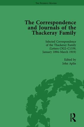 The Correspondence and Journals of the Thackeray Family Vol 5: 1st Edition (Hardback) book cover