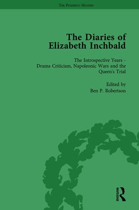 The Diaries of Elizabeth Inchbald Vol 3: 1st Edition (Hardback) book cover