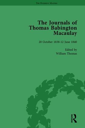 The Journals of Thomas Babington Macaulay Vol 1: 1st Edition (Hardback) book cover