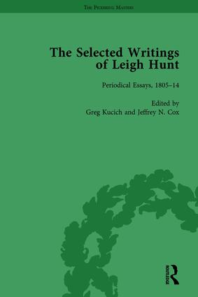 The Selected Writings of Leigh Hunt Vol 1: 1st Edition (Hardback) book cover