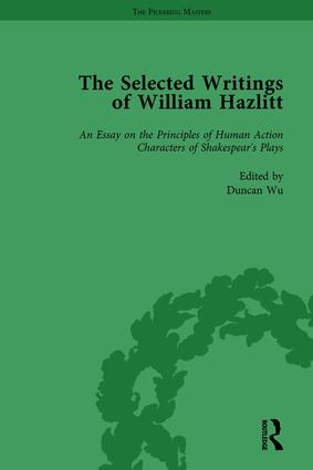 The Selected Writings of William Hazlitt Vol 1: 1st Edition (Hardback) book cover