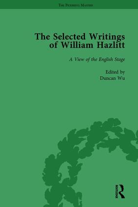 The Selected Writings of William Hazlitt Vol 3: 1st Edition (Hardback) book cover