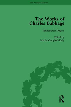 The Works of Charles Babbage Vol 1: 1st Edition (Hardback) book cover