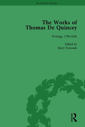 The Works of Thomas De Quincey, Part I Vol 1: 1st Edition (Hardback) book cover