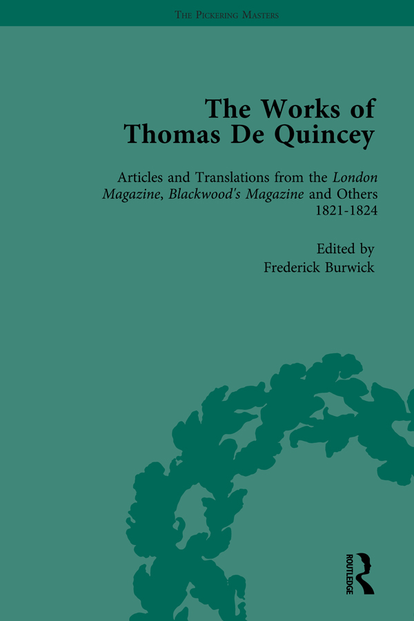 The Works of Thomas De Quincey, Part I Vol 3: 1st Edition (Hardback) book cover