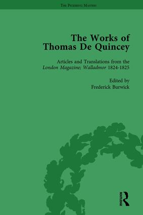 The Works of Thomas De Quincey, Part I Vol 4: 1st Edition (Hardback) book cover