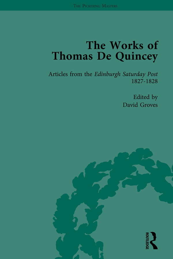 The Works of Thomas De Quincey, Part I Vol 5: 1st Edition (Hardback) book cover