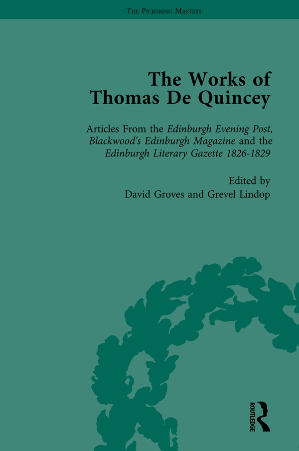 The Works of Thomas De Quincey, Part I Vol 6: 1st Edition (Hardback) book cover