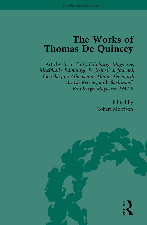 The Works of Thomas De Quincey, Part III vol 16: 1st Edition (Hardback) book cover