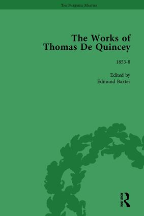 The Works of Thomas De Quincey, Part III vol 18: 1st Edition (Hardback) book cover