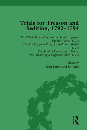 Trials for Treason and Sedition, 1792-1794, Part I Vol 1: 1st Edition (Hardback) book cover