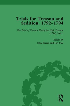 Trials for Treason and Sedition, 1792-1794, Part I Vol 2: 1st Edition (Hardback) book cover
